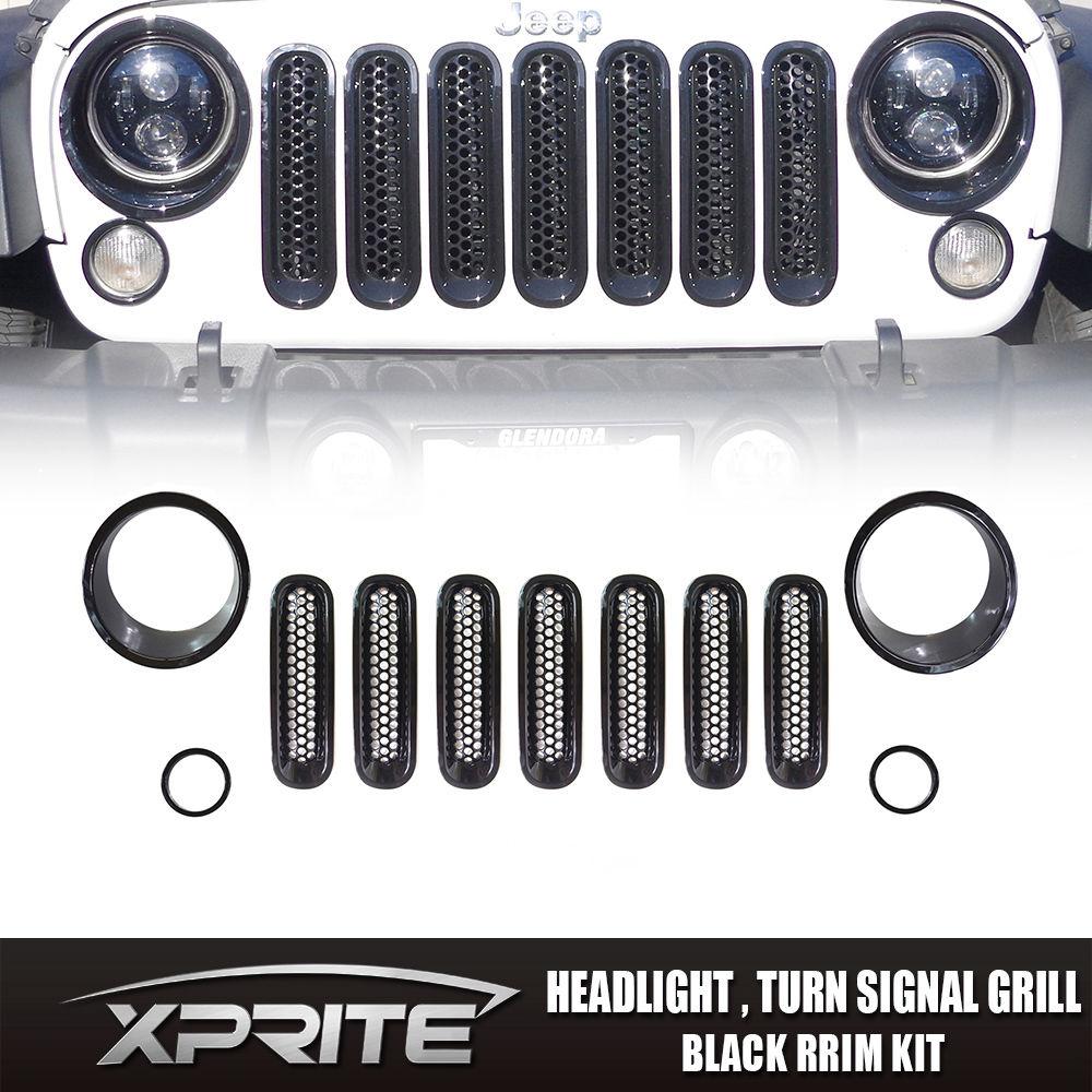 Gloss Black HeadLight Trim Bezel Insert Cover kit  for 07-17 Jeep JK Wrangler