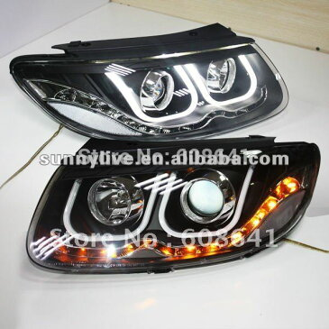 USヘッドライト[右ハンドル・日本仕様]ヒュンダイ サンタフェエンジェルアイズLEDヘッドライトUタイプFor 2006-20 For 2006-2010 Hyundai Santa Fe Angel Eyes LED Head light U Type