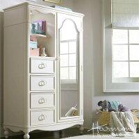 アンティーク調白家具収納家具姫系木製脚付きクラシックおしゃれかわいい洋たんすアウトレット輸入家具ミラードアチェスト4910Harmony