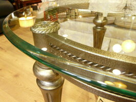 輸入家具アウトレットガラステーブル37504サイドテーブルエンドテーブルガラス天板円形丸型アンティーク調クラシック
