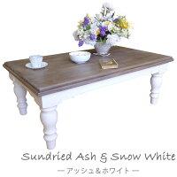フレンチカントリー輸入家具コーヒーテーブルCA005アッシュ&ホワイトパイン無垢