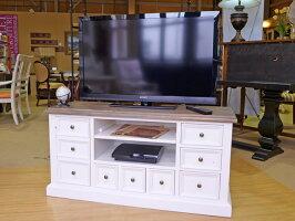 欧米輸入カントリー家具TVキャビネットリサイクルパインアッシュ&ホワイトCA027