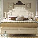 ベッドフレーム クイーン 白 ホワイト アイボリー ( マットレス 別売) フレンチカントリー 高級 クイーンベッド アンティーク アンティーク調 シャビーシック クラシック テイスト エレガント レトロ おしゃれ かわいい 木製 寝室 ベッド 別荘 Paula Deen 996 UNIVERSAL