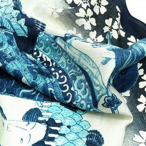 シルクスカーフシルク100%大判スカーフsilkscarf浮世絵スカーフ歌川国貞「松葉屋」絹utagawakunisada