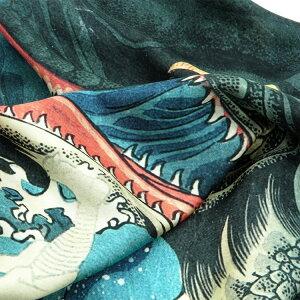 シルクスカーフシルク100%silk浮世絵スカーフ歌川国芳「八郎潟」絹