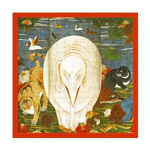 シルクスカーフシルク100%silk浮世絵スカーフ伊藤若沖「象タイル画」絹itoujakuchu