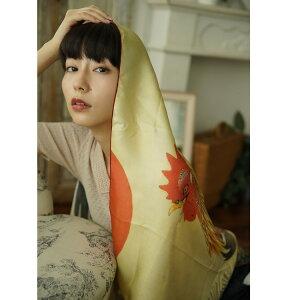 シルクスカーフシルク100%silk浮世絵スカーフ伊藤若沖「夜明け鶏」絹itoujakuchu