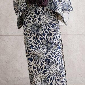 浴衣3点セット(浴衣/帯/下駄)紺ネイビー藍色ベージュ菊きく花火大会夏祭り浴衣セットゆかた女性レディースレトロ大正ロマン古典柄モダンフリーサイズ