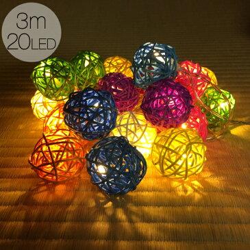ガーランド ライト 室内用 イルミネーション コットンボール 電池式 20球 3m 電球色 LED クリスマス ストレート 毛玉 ウッド 電飾 ライト 飾り付け 装飾 部屋 ツリー オーナメント 玄関 エントランス ハロウィン キャンプ 結婚式 おしゃれ