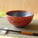うどん どんぶり 鉢赤柚子八重がけ 砂目5.8丸丼ラーメン鉢...