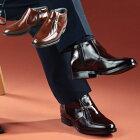 メンズアップシューズ牛革(デザインモカハーフブーツ)【ヒールアップシューズ5cmビジネスシューズ靴】【送料無料】