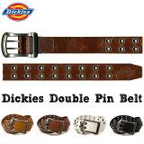 【全品 送料無料 】ベルト Dickies ダブルピンベルト 40mm カット可 ディッキーズ 合成皮革 メンズ ベルト アンティーク ロゴ バックル