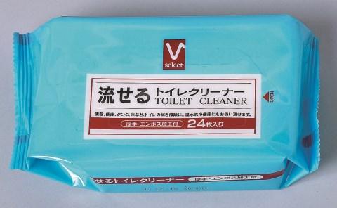 Vセレクト 流せるトイレクリーナー 24枚×30個セット[掃除シート トイレ用] (応)