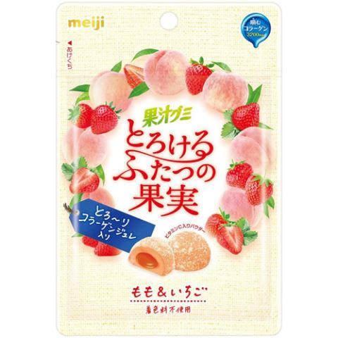 果汁グミ とろけるふたつの果実 もも&いちご 52g×10個セット[果汁グミ]
