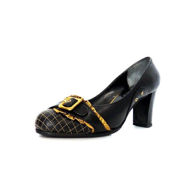 【中古】アナザーサロン Another salon キルティングレザー ヒール パンプス 靴 35.5 ブラック ゴールド金具 黒 SSAW レディース 【ベクトル 古着】 191005 VECTOR×Refine画像