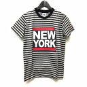 ティーエムティー TMT 15AW NEW YORK プリント ボーダー Tシャツ 半袖 グレー S TCS-F15SP12 メンズ 【中古】【ベクトル 古着】 180121 VECTOR×Refine