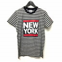 ティーエムティー TMT 15AW NEW YORK プリント ボーダー Tシャツ 半袖 グレー M TCS-F15SP12 メンズ 【中古】【ベクトル 古着】 180121 VECTOR×Refine
