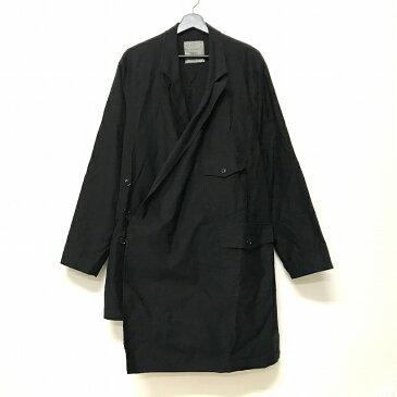 ヨウジヤマモトプールオム YOHJI YAMAMOTO POUR HOMME 17SS コットンツイル 民族ドレス アシンメトリー ロングジャケット コート 3 黒 ブラック HD-D10-036 メンズ 【中古】【ベクトル 古着】 180802 VECTOR×Refine