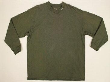 90's ■ NIKE ナイキ スウッシュ モックネック 長袖ヘビーコットンTシャツ (XL) カーキ ロンT ビッグサイズ