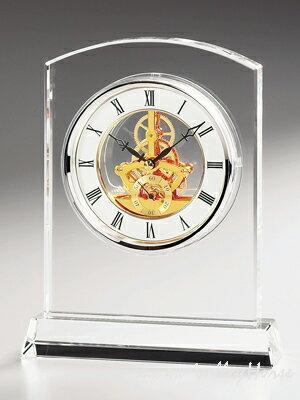 名入れ メッセージ彫刻 名入れ時計【退職記念 退職祝い】GLASS WORKS NARUMIマルカート スケルトンクロック卓上時計 置時計 ナルミ (鳴海製陶):硝子工房ヴァレーホース