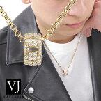 【ファッション誌に掲載】VJ【ブイジェイ】K18 イエローゴールド メンズ フル ダイヤモンド AOI リング ペンダント 2.6mm ロールチェーンセット【18金 18k ネックレス 指輪 ハワイアン シンプル イタリア ジュエリー アメリカ アメリカン ブランド 】