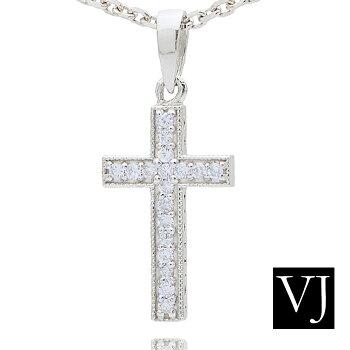 VJ18Kイエローゴールドダイヤモンドクロスペンダント18金ネックレス