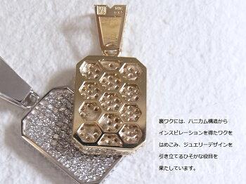 VJ【ブイジェイ】10Kイエローゴールドメンズクラッシュドダイヤモンドペンダント18kチェーンセット18金ドックタグIDプレートネックレス