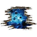 ウォールステッカー 宇宙 壁穴 惑星 衛星 地球 月 お風呂 写真 トリックアート 3d 星 ステッカー レンガ 穴 インテリア 流れ星 子供部屋 銀河系 太陽系 彗星 星空 星系 大星雲 綺麗な色 文字 景色 宇宙船 大きい 船 だまし絵 ikea 面白い ロマン 青ブルー 夜空 スター