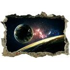 【ウォールステッカー 宇宙】 壁穴 惑星 衛星 地球 恒星 月 シール 窓 トイレ お風呂 写真 トリックアート ★ 星 ステッカー レンガ 穴 インテリアシール 子供部屋 銀河系 太陽系 星空 彗星 流星 英字 3d 景色 宇宙船 小さい 人気 だまし絵 ikea 綺麗 かわいい ワンポイント/