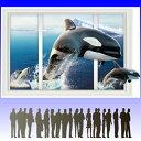 ウォールステッカー 窓 シャチ 海 壁紙 南国 3d ウォールシール 動物 アニマル トリックアート クジラ イルカ シール 南極 北極 氷 雪 流氷 おしゃれ かわいい 子供部屋 窓 diy 海底 海中 お風呂 階段 洗面所 ウィンドウ 大きい 青い 空 波 寒い 冬 北国 リビング 簡単/