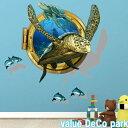 ウォールステッカー 窓 海 動物 子供部屋 魚 海の中 トリックアート 亀 イルカ 立体 3d アニマル 海中 水中 シール 海底 壁紙 飛び出す 風景 ステッカー 青い ブルー かわいい 癒し系 海豚 サンゴ礁 波 騙し絵 だまし絵 ウオールステッカー お風呂 景色 diy 英字 大きい窓