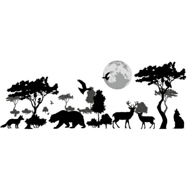 ウォールステッカー 動物 おしゃれ 木 モノトーン 子供部屋 カフェ インテリア 壁紙シール 男の子 女の子 シール 雑貨 はがせる パソコン 空 漫画 簡単 小さいパーツ 黒 グレー 狼 オオカミ 熊 キツネ 鳥 月 夜空 夜景 動物園 クリニック 背景 病院 幼稚園