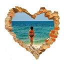 ウォールステッカー 海 窓 南国 ビーチ おしゃれ 壁穴 風景 シール 風呂 砂
