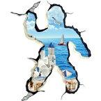 ウォールステッカー 風景 窓 海 シール お風呂 写真 トリックアート ステッカー レンガ 穴 インテリアシール 南国 ビーチ 植物 カモメ ヨット 木 3d 世界地図 英字 夏 専門店 ハワイ ウオールシール 海外 大きい サイズ 地中海 カリブ海 紅海 観光地 夏 オーシャンビュー 街