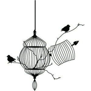 wall sticker bird tree transfer tree and birdcage animal sticker plant bird cage kitchen wallpaper nordic wood Flower Toilet Fashionable entrance Old cute monotone Mori Japanese Asian Japanese pattern Calligraphy Western style Black landscape Door wall Retro antique Japanese style room Japanese side Modern Japanese bird cage Showa mini size glass
