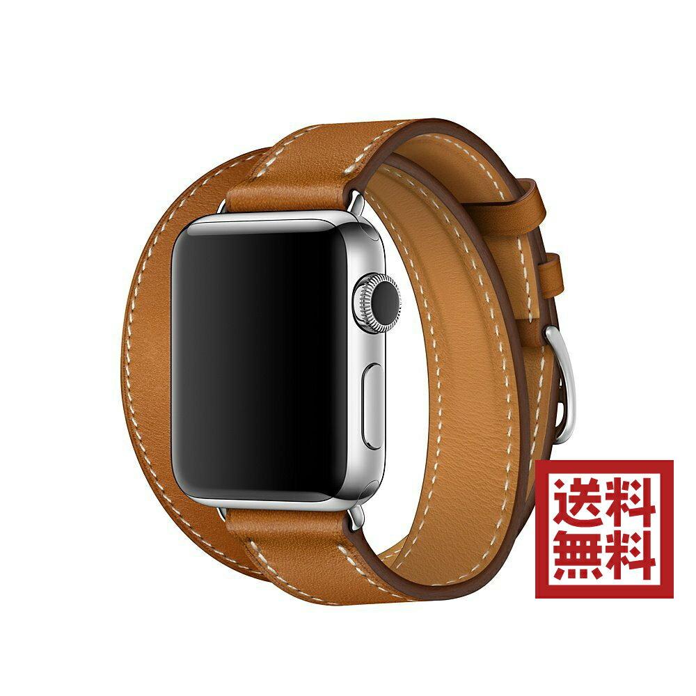 Apple Watch Hermès - 38mmケース用ヴォー・バレニア(フォーヴ)ドゥブルトゥールレザーストラップ - L MMME2FE/A 交換用バンド アップルウォッチ エルメス:バリューマックス
