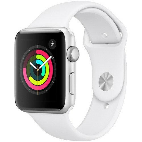 アップルウォッチ本体AppleWatchSeries338mmシルバーアルミニウムケースとホワイトスポーツバンドアップルウォッチ
