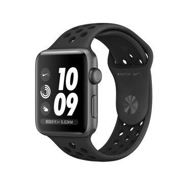 アップルウォッチ 本体 ナイキ Apple Watch Series 3 Nike+ 42mm スペースグレイアルミニウムケースとアンスラサイト/ブラックNikeスポーツバンド シリーズ3 (GPSモデル)MTF42J/A MTF42JA