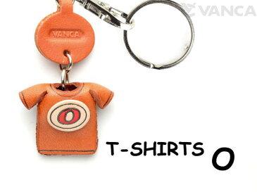 Tシャツ O (赤) キーホルダー イニシャル【レザー 本革 VANCA バンカクラフト革物語 国産 ハンドメイド 贈り物 即納】
