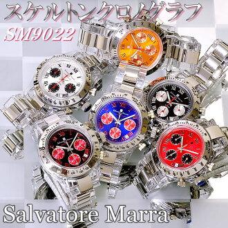 Salvatore Marra skeleton chronograph watches watch SM9022BKRD, SM9022BKSV, SM9022BL, SM9022OR, SM9022BL, SM9022OR, SM9022RD, SM9022SV