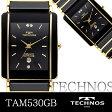 TECHNOS テクノス メンズウォッチ セラミックベルト使用 腕時計 バーインデックス ブラックゴールド TAM530GB 送料無料