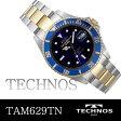 TECHNOS テクノス ダイバーズメンズウォッチ 回転ベゼル搭載 腕時計 ドット&バーインデックス ネイビーベゼル TAM629TN 送料無料