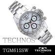TECHNOS テクノス 10気圧防水 メンズウォッチ クロノグラフ搭載 腕時計 シルバー ホワイト文字盤 TGM615SW 送料無料
