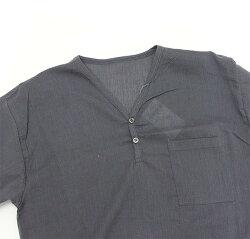 涼しいステテコ素材のシャツ無地ヘンリーネック半袖
