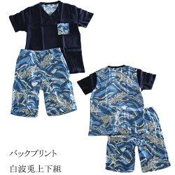 送料無料日本製高島ちぢみ半袖とステテコハーフパンツの上下セット(ワンマイルウエア)(半袖Vネックシャツとステテコハーフパンツ)綿100%高島縮みメンズ