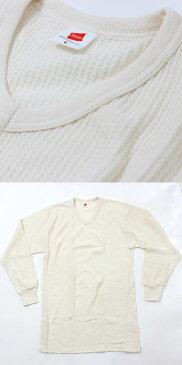 Hanes( ヘインズ )サーマル 長袖Vネックtシャツ(MH4121) メンズ カットソー ヘインズ長袖シャツ 下着 肌着 インナー ヘインズ ヘインズ tシャツ ワッフル 楽天スーパーセール 在庫処分