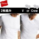 ヘインズ tシャツ/2枚組み/綿100%/メンズ/半袖/ 2p/パックt/メンズインナー/2枚セット/Hanes/クルーネック/Vネック