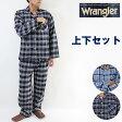送料無料ラングラー(Wrangler)秋冬メンズ先染め起毛パジャマ上下セット(格子チェック柄)(長袖長パンツの上下組み)