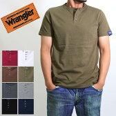 送料無料(Wrangler)ラングラーのヘンリーネック半袖tシャツ メンズ 1000円 ポッキリ 綿 100% コットン