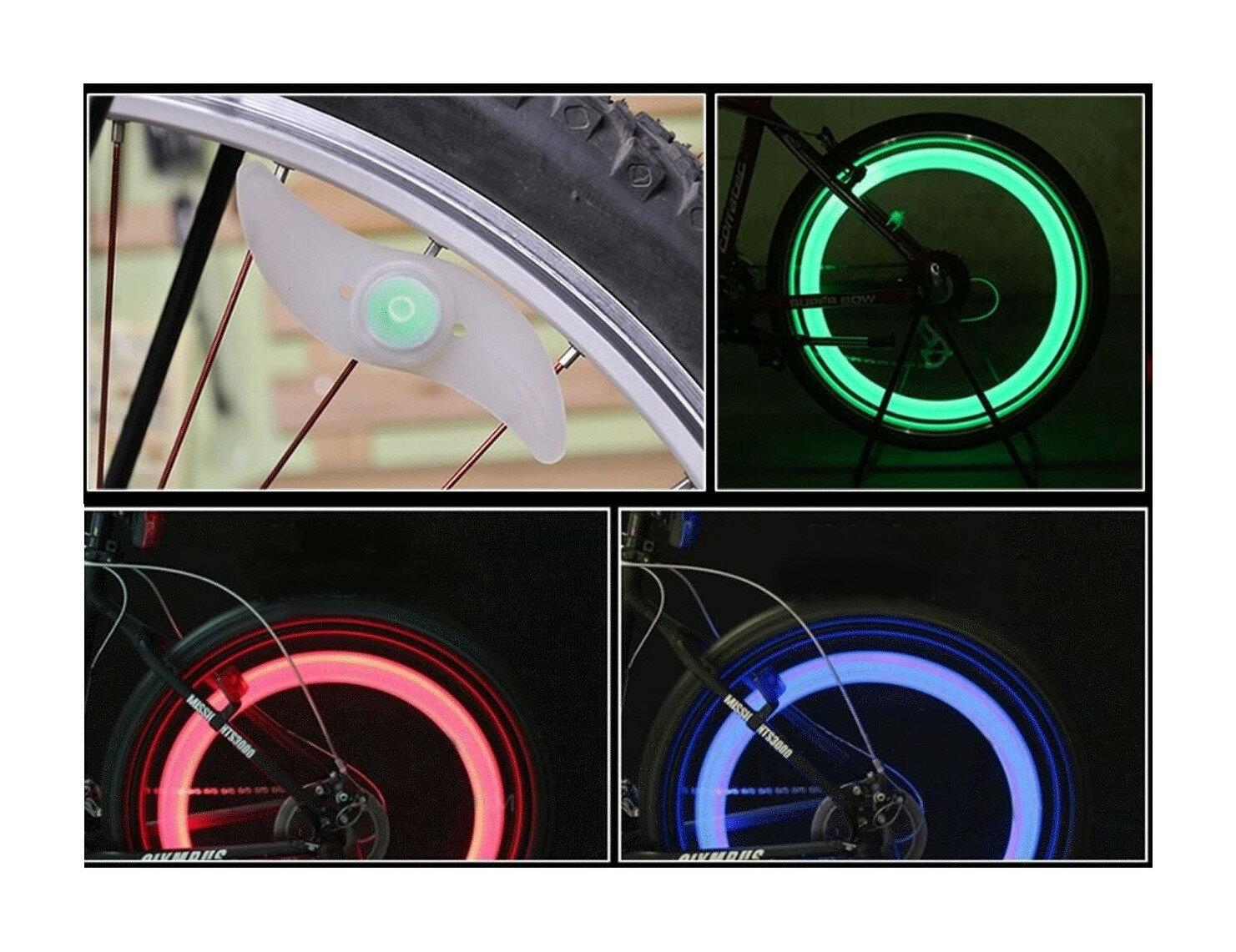 タイヤを回すと綺麗な光の輪! 自転車用 ホイールライト 3色セット LED スポークライト[定形外郵便、送料無料、代引不可]